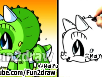 Easy to Draw - How to Draw a Dinosaur - Triceratops - Drawing Step by Step - Fun2draw