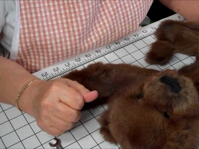 Part 13 How to Make a Jointed Fur Teddy Bear - Attaching the head, arms & legs to the body