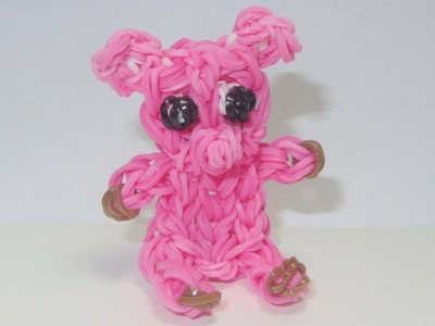 Rainbow Loom: PIG CHARM  (sits by itself): How to Design. Tutorial