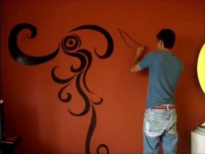 Swirls painting on wall