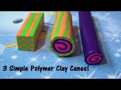 3 Simple Polymer Clay Canes Tutorial (Jelly Roll, Wrapped Jelly Roll, Checkered Square Cane)!