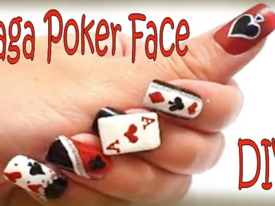 3D Lady Gaga Poker Face Nails Tutorial - Halloween 2011
