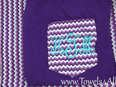 Chevron Purple Pocket Tee Shirt Monogrammed Initials - video demo