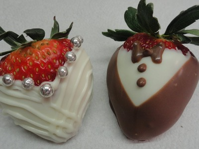 """""""Dressed Up"""" Chocolate Dipped Strawberries (Bride and Groom)"""
