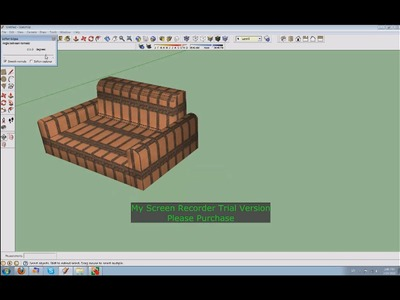 Google Sketchup 3D Sofa tv table and flat screen TV part 1