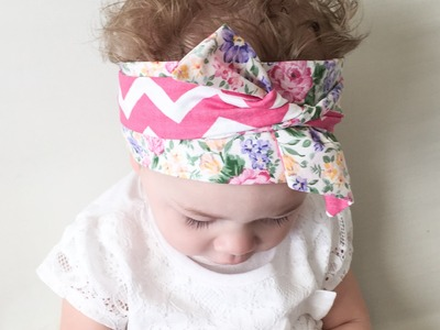"Headwrap Tutorial: How to tie a baby Headwrap ""twice with a knot"" style."