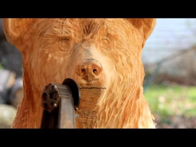 How to Chainsaw Carve a bear cub in a stump