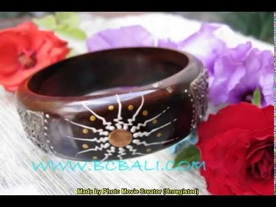 New jewelry designer handmade process with wooden bangle bracelets material