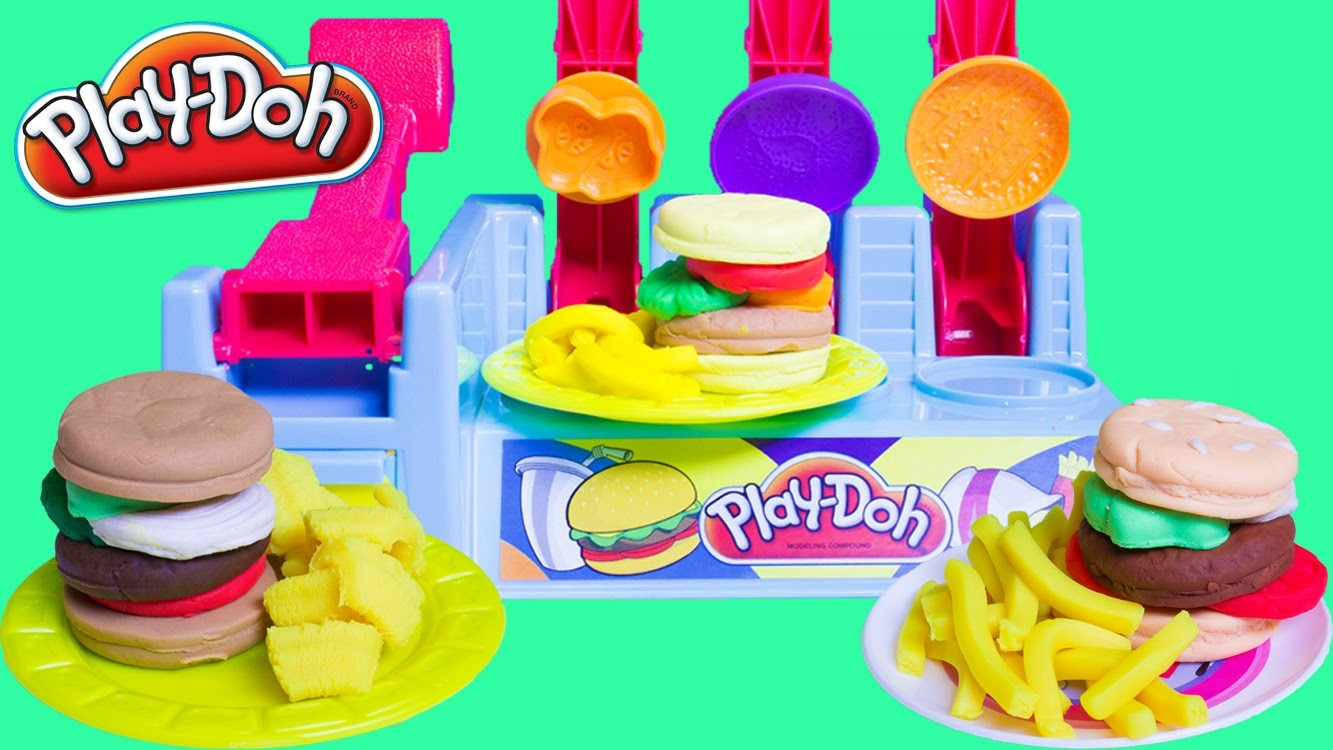 Play Doh Burger Builder Dough Burger Deli Set Play Doh Hamburger French Fries Hot Dog Playdough