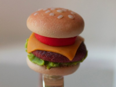 Cheeseburger Ring - Polymer Clay Miniature Food Jewelry Tutorial