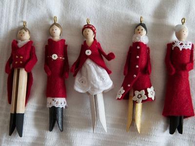 Christmas doll ornaments - Petites poupées de Noël