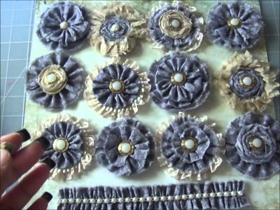 Handmade Fabric Flowers.Prima inspired