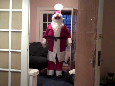 How to make a Santa Claus costume with a bathrobe, sweatpants, and 2 pillows for cheap