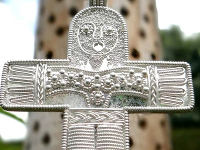 Jewellery making granulated viking silver filigree cross