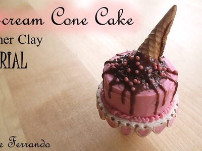 Miniature Polymer Clay Ice-Cream Cone Cake TUTORIAL | Maive Ferrando