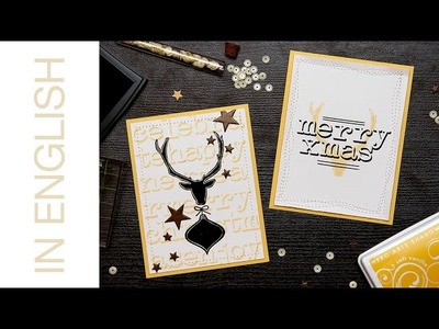 Modern White + Black + Yellow Holiday Cards with Altenew