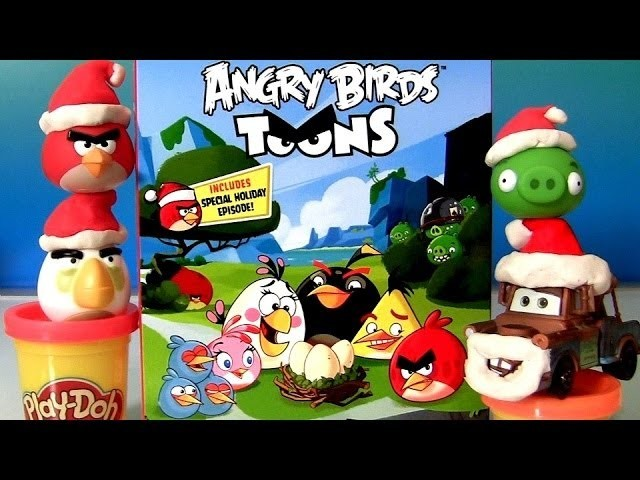 Play Doh Angry Birds Blu-Ray + Christmas Ornaments Play Dough Red Bird Bad Piggies Santa Mater Pixar