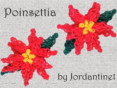 Poinsettia Flower Charm - Rainbow Loom or Monster Tail - Christmas Holiday Decoration