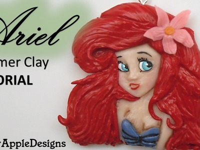 Polymer Clay Disney's Ariel The Little Mermaid Pendant.Charm Tutorial.La Sirenita.La Sirenetta FIMO