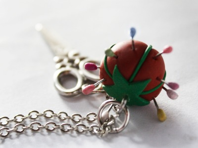 Polymer clay tutorial - pin cushion necklace charm