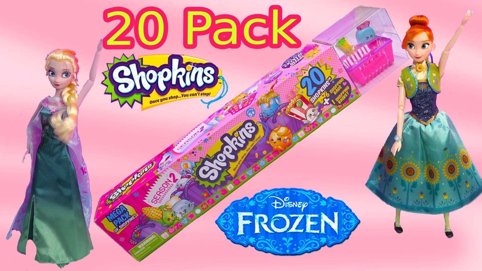 Queen Elsa Shopkins 20 Mega Pack Season 2 Disney Frozen Fever Princess Anna Dolls Toy Blind Bags