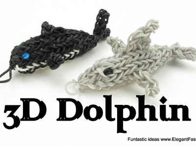 Rainbow Loom 3D Dolphin Charm.Figure - How to - Animal Series