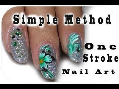 Simple Way To Make One Stroke Nail Art,Green Flower Design, Holographic Shiny Nails