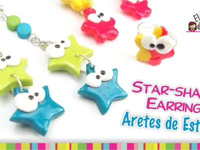Star-shaped earrings Polymer Clay Tutorial. Aretes de estrella de Arcilla Polimérica