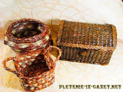 Weaving holders from newspapers.  Part 5.