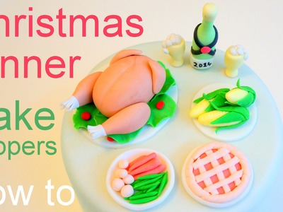 Christmas Dinner Cake - How to Make Miniature Turkey Dinner Cupcake Toppers by Pink Cake Princess