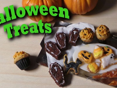 Cute Miniature Halloween Treats - Polymer Clay Tutorial - Cookies, Cupcakes, Brownies
