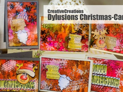 【HowTo】 Christmas Cards with Dylusions Products by Dyan Reaveley