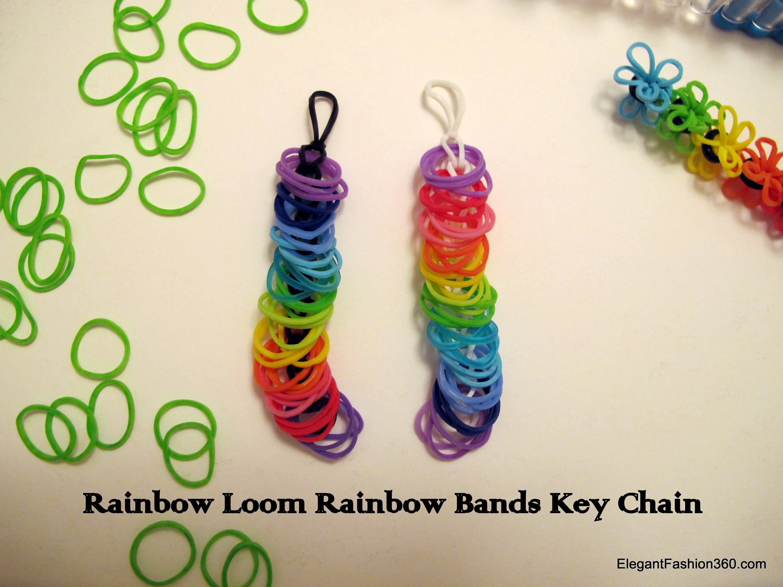 How to make Rainbow Bands Key Chain - Rainbow Loom