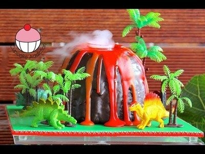 Make a Smoking Volcano Cake - Dinosaur. Hawaiian Party - A Cupcake Addiction How To Tutorial