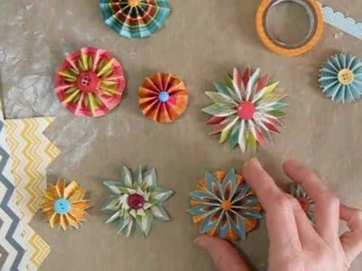 Making Accordion Flowers or Rosettes with Chevron papers