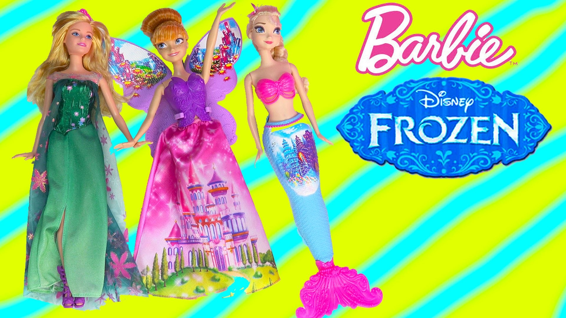 Queen Elsa Barbie Fairytale Dress Up Doll Playset Mermaid Fairy Princess Anna Frozen Fever Unboxing