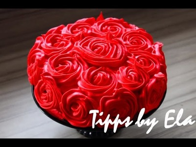 Rose Cake Tutorial whipped cream  - How to make a rose swirl cake no Fondant
