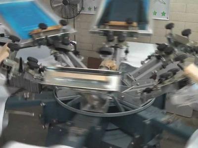 Screen Printing T Shirts On A Manual Rotary Textile Press