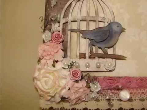 Shabby Chic Flowers, Bird Cage Canvas