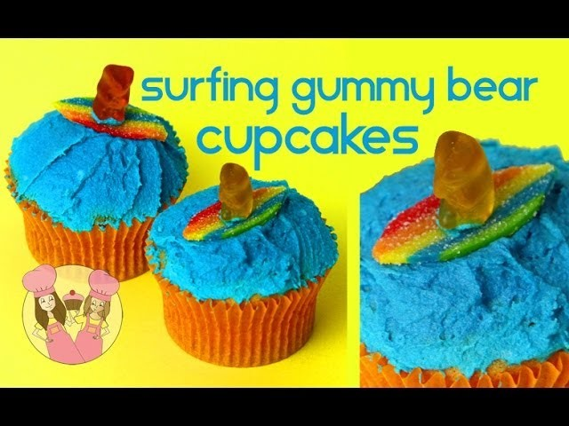 SURFING GUMMY BEAR CUPCAKES! Summer beach theme party - Charli & Ash