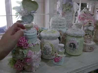 Altered  Tilda.Shabby Chic Jars with (Sand texture Paste)
