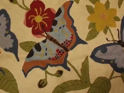 Crewel Rug Butterfly Cream Chain Stitched Wool Rug
