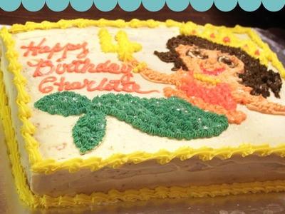 Dora Mermaid Cake Decorating with my Mom!