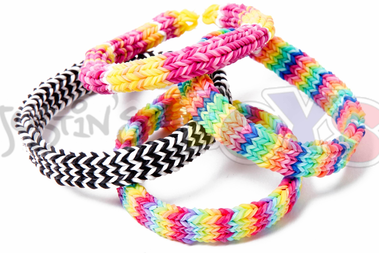 Как сделать браслеты из резинок трех цветов