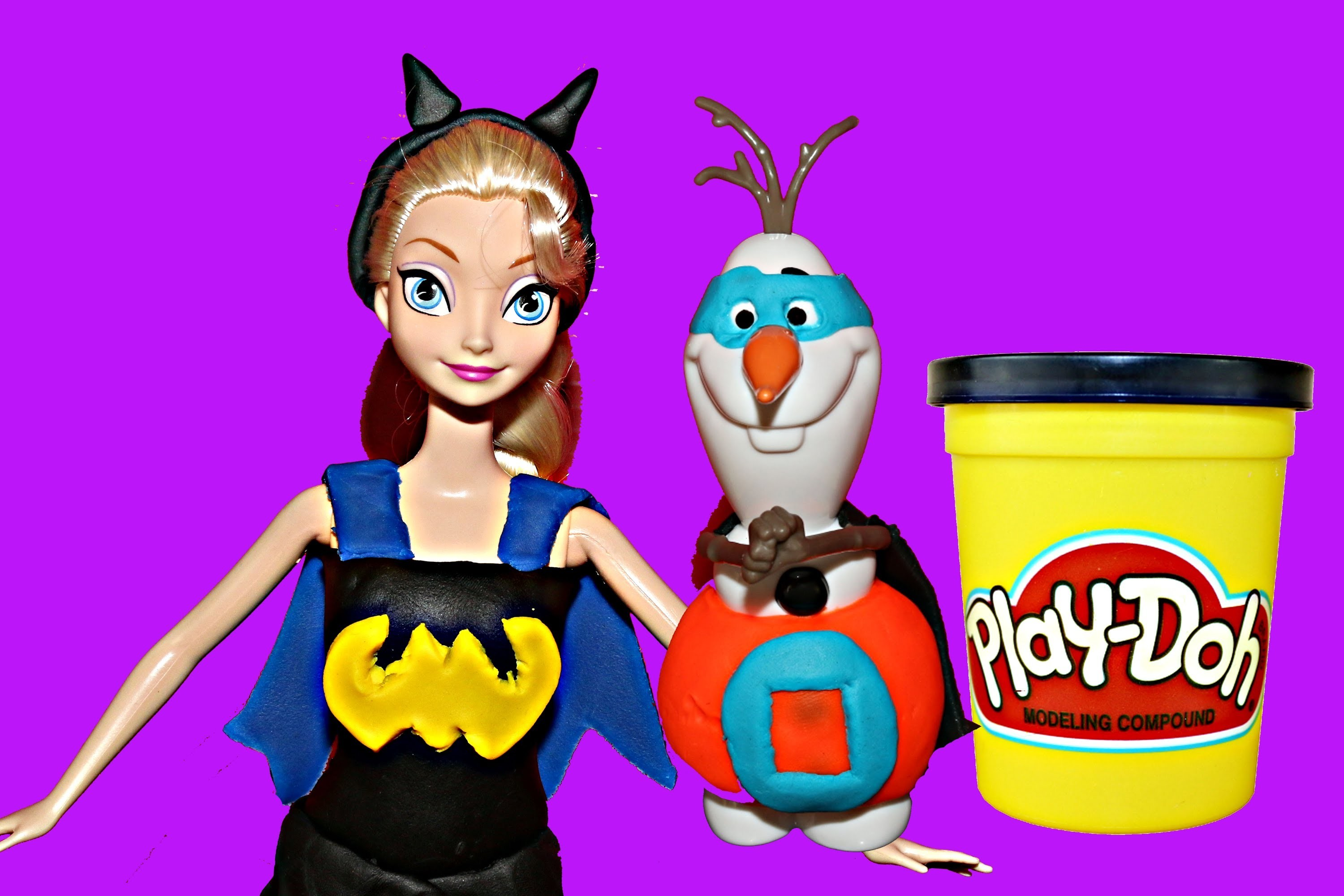 Frozen Elsa Play Doh Dress Batman Bat Girl with ToysReviewToys Super Olaf by DisneyCarToys
