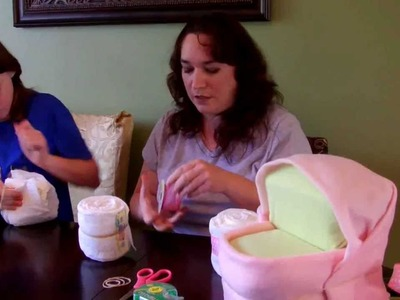 How to make a Diaper Cake - Medium Bassinet with wheels for baby shower