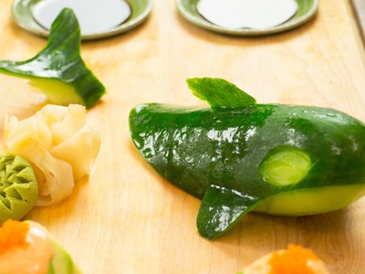 How To Make Cucumber Whale Garnish