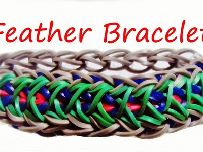 Loom Bands FEATHER BRACELET: How to Make it Tutorial. Design (Gumičky návod)