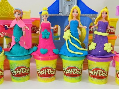 Play Doh Sparkle Dresses Disney Princess Elsa Anna Cinderella Rapunzel MagiClip Glitter Dolls!