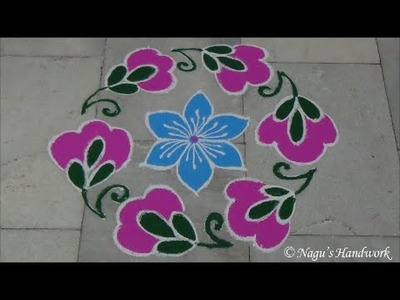 Rangoli Design with dots 9-5 - Flower Rangoli Design By Nagu's Handwork